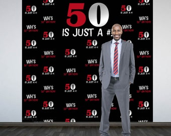 50th Birthday Personalized Photo Backdrop -BIG 50 Photo Backdrop, Birthday Milestone Photo Backdrop, Step and Repeat Backdrop, Printed