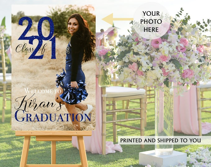 Featured listing image: Class of 2021 Graduation Photo Welcome Sign - Grad Party Welcome Sign - Welcome Sign Congrats, Foam Board Sign, Graduation Canvas Party Sign