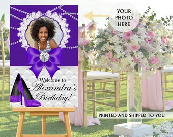 40th Birthday Welcome Sign - Purple Heels Party Sign, Welcome to the Party Sign, Foam Board Printed Welcome Sign, Fashion Welcome Sign
