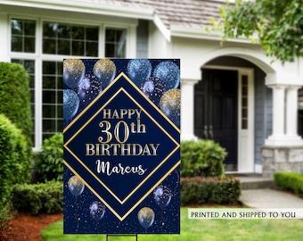Birthday Yard Sign   Navy & Gold Birthday Sign   Birthday Signs   Birthday Yard Sign  30th Birthday Lawn Sign   40th Birthday