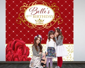 Princess Party Personalized Photo Backdrop - Royal Princess Step and Repeat Photo Backdrop- Red Roses Birthday Photo Booth Backdrop, Printed