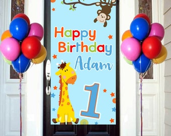 First Birthday Animals Door Banner, Personalized Door Birthday Banner -Jungle Animals Birthday Party Banner, Welcome to the Party Banner