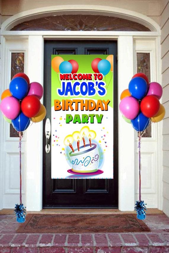 Happy Birthday Door Banner Personalize Birthday Balloons Etsy