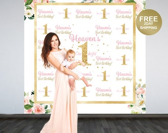 First Birthday Personalized Photo Backdrop | Floral Photo Backdrop | Printed Backdrop | 1st Birthday Photo Booth Backdrop, Birthday Backdrop