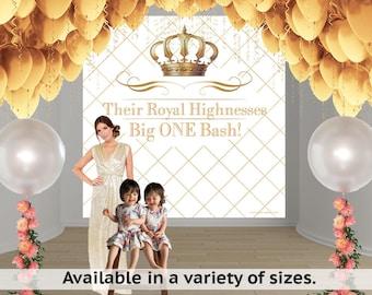 Royal Birthday Party Personalized Photo Backdrop - First Birthday Photo Backdrop- Gold Crown Photo Backdrop - Big One Bash