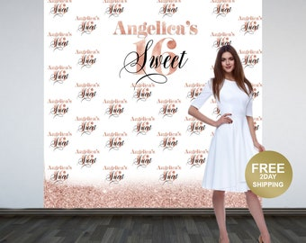 Sweet 16 Personalized Photo Backdrop -Rose Gold Photo Backdrop- 16th Birthday Photo Backdrop - Printed Photo Booth Backdrop, Vinyl Backdrop