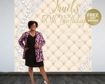 Pearls of Wisdom Backdrop   Pearls Step & Repeat Backdrop   Birthday Backdrop   50th Birthday Photo Backdrop   Printed Photo Backdrop