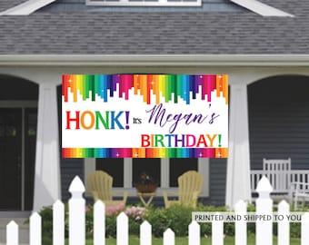 Birthday Banner   Personalized Birthday Banner   Rainbow Vinyl Banner   Custom Banner   HONK Birthday Banner    Quarantine Birthday Banner