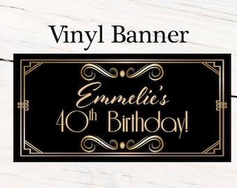 Great Gatsby Birthday Banner  ~ Retro Birthday Personalized Party Banners - Happy Birthday Banner, Art Deco Personalized Party Banner