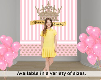 Gold Crown Pink Party Personalized Photo Backdrop - Princess Baby Shower Backdrop - Sweet 16th Photo Backdrop - Printed Vinyl Backdrop