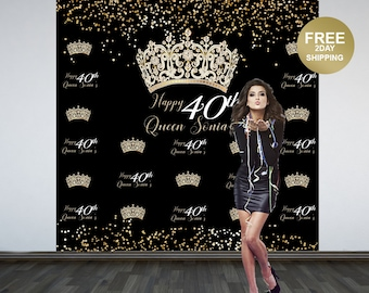 40th Birthday Photo Backdrop   Birthday Queen Photo Backdrop   Birthday Backdrop   Party Backdrop   Printed Backdrop   Personalized Backdrop