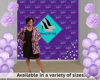 Stepping into 50 Party Personalized Photo Backdrop -High Heels Photo Backdrop- Diamond Birthday Photo Backdrop, Printed Party Backdrop