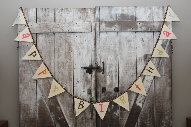 Birthday Fabric Banner Flags brown trim multi colored letters Holiday Celebrate Gift Idea Party Time