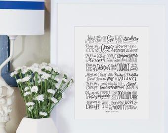 may the god of women hand lettered print // christian art print // benedicte // gift for mom // gift for her // prayer for women