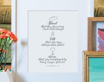 bread salt and wine hand lettered print // christmas art print // it's a wonderful life art print // irish blessing art print // home decor