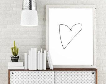 Minimalist Wall Art, Heart Print, Large Printable Art, Minimalist Poster, Heart Printable Wall Decor, Digital Download Art, Minimalist Art