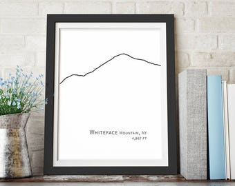 Whiteface Mountain Art Adirondack Mountain Print Ski Decor Minimalist Poster Large Wall Art Downloadable Print Black and White Printable Art
