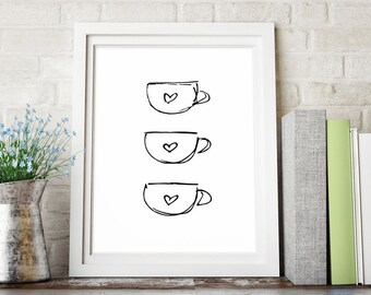 Coffee Decor, Kitchen Art, Black and White Art, Kitchen Decor, Coffee Print, Sketch Art, Printable Art, Minimalist Poster, Instant Download