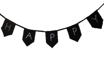 Fabric flags chain, Happy, Flags chain, Black 100% cotton canvas, Inspirational design, Girls room decor, Teens room decor