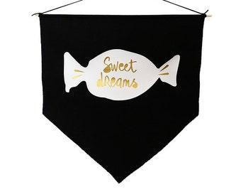 Sweet dreams Gold, White and Black Banner flag, Minimalist design, Wall flag, Inspirational decor, Motivational flag, Scandinavian style