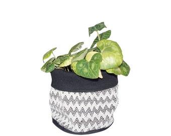 Weiche Topf, Stoff-Eimer, geometrico, schwarz und weiß, Housewarminggeschenk, 100 % Baumwolle, Raumdekoration, skandinavischen Stil
