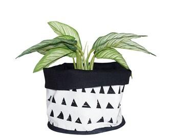 Weiche Topf, Stoff Eimer, Dreiecke Muster, Gitter-Muster, schwarz und weiß, 100 % Baumwolle, nordisches Design, skandinavischen Stil