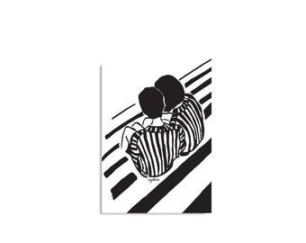 Den Austausch von Geheimnisse, Kunstdruck, Illustration Druck, schwarz und weiß-Wand Kunst, Room Decor, minimalistisches Design, inspirierendes Design, kostenloser Versand