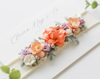 Little Romance in peach, lavender and off white Headband -  Shabby Chic Headband - Floral Headband - Flower Crown - Partial Crown - Headband