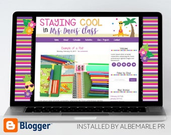 Premade Blogger Template, Mobile Responsive, Teacher Blog Template - Mrs. Davis