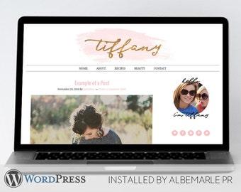 Premade Genesis Framework WordPress Template // Genesis Child Theme // Pink Watercolor Gold Glitter - Tiffany