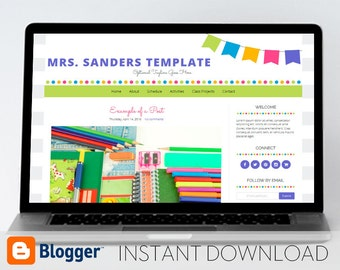 Instant Download: Premade Blogger Template // Mobile Responsive // Bright Bunting Template - Mrs. Sanders Style 1