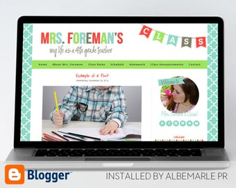 Premade Blogger Template, Mobile Responsive Template, Teacher Blog Classroom Lessons - Mrs. Foreman