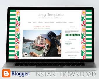 Instant Download: Premade Blogger Template // Mobile Responsive // Floral Design - Lacy