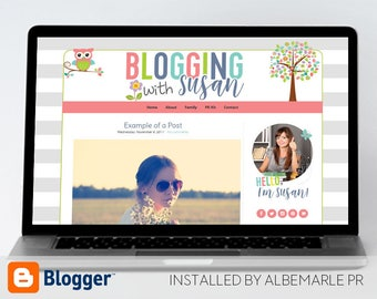Premade Blogger Template, Mobile Responsive Template, Teacher Blog Classroom Lessons - Susan