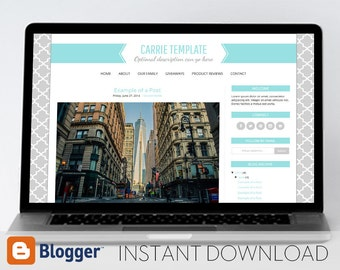 Instant Download: Premade Blogger Template // Mobile Responsive // Blue Ribbon Header Template - Carrie (Blue)