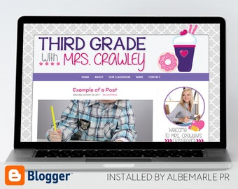 Premade Blogger Template, Teacher Blog Classroom Lessons, Coffee Theme, Doughnut Theme  - Mrs. Crawley