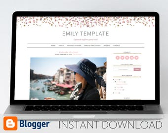 Instant Download: Premade Blogger Template // Mobile Responsive // Pink and Gold Confetti Template - Emily