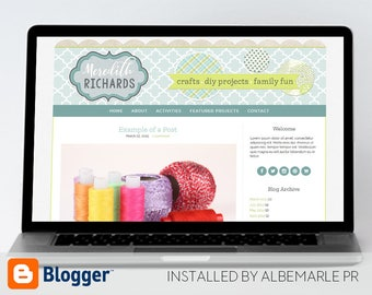 Premade Blogger Template, Mobile Responsive, Scrapbook Style Blog Design - Meredith