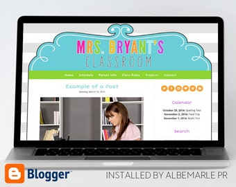 Premade Blogger Template, Mobile Responsive, Teacher Blog Template, Classroom Template - Mrs. Bryant