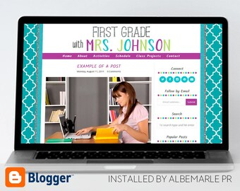 Premade Blogger Template, Mobile Responsive Template, Glitter Teacher Blog Classroom - Mrs. Johnson