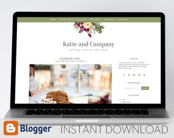 Instant Download: Premade Blogger Template // Mobile Responsive // Burgundy Floral Blog - Katie