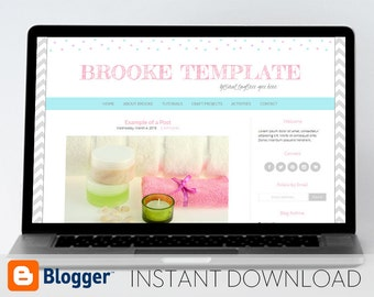 Instant Download Premade Blogger Template, Mobile Responsive // Sketch Style Font with Polka Dots - Brooke