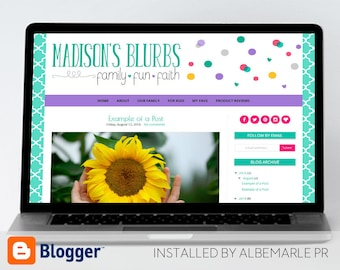 Premade Blogger Template, Mobile Responsive, Colorful Polka Dots and Hearts - Madison