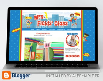 Premade Blogger Template, Mobile Responsive, Teacher Blog Template, Superhero Theme - Mrs. Fields
