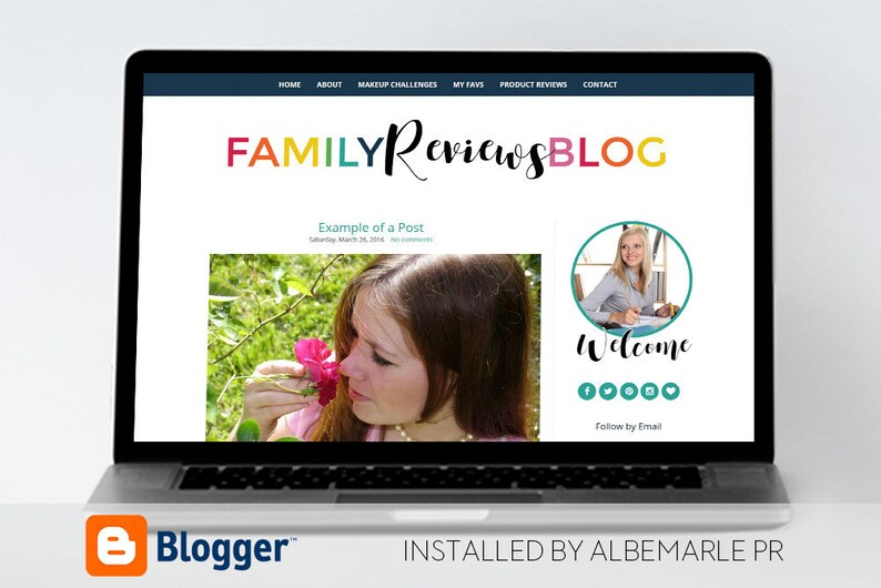 Premade Blogger Template  Blogspot Template  Minimal Template with Colorful Text MM100