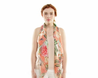 "Floral square Scarf - 100% silk in 40"" X 40"""