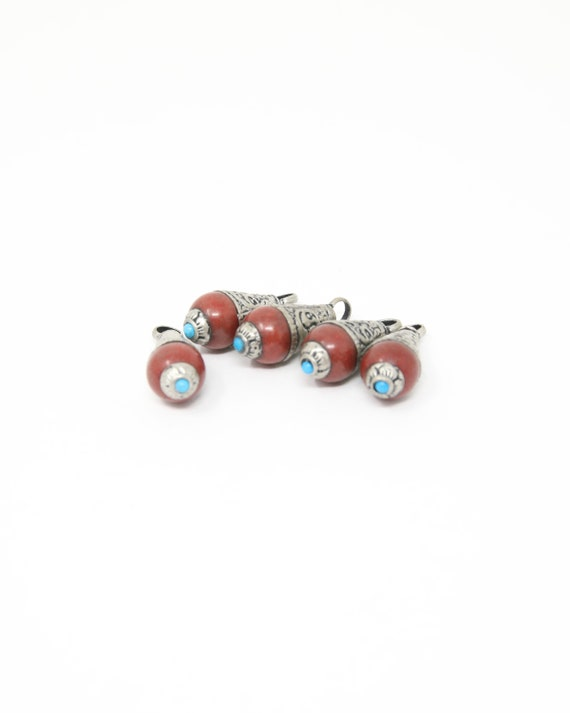 RCW 5 Tribal Beads Teardrop Nepal Beads for Jewellery Making 26mm Coral Inlaid Pendant Beads
