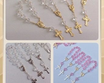 "24 Mini rosaries approximately 4"" long- Baptism favors - first communion favor-mini rosaries- baptism favors- communion favor"
