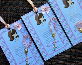 12 first communion favors with mini rosaries- girl first communion favors - first holy communion -bookmark first communion