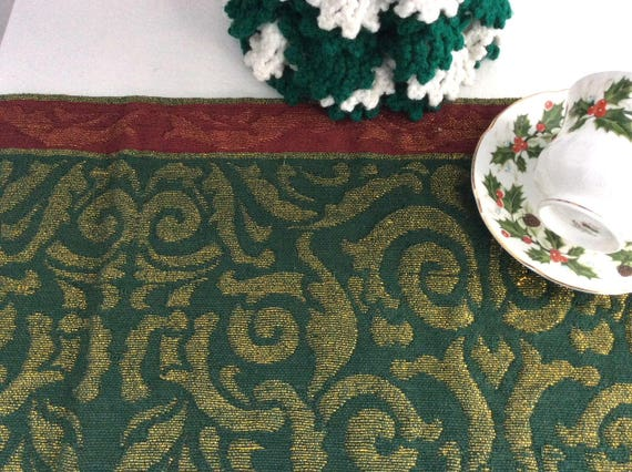 Metallic Gold Tapestry Damask Fabric Table Runner Red Green Gold Crate And Barrel 72 Inches Holiday Decor Christmas